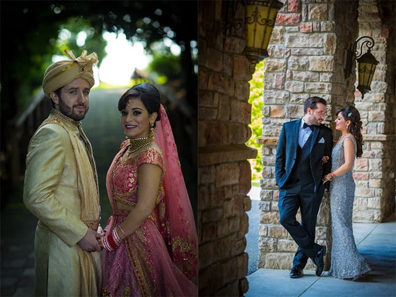 Couple posing at their Hindu wedding