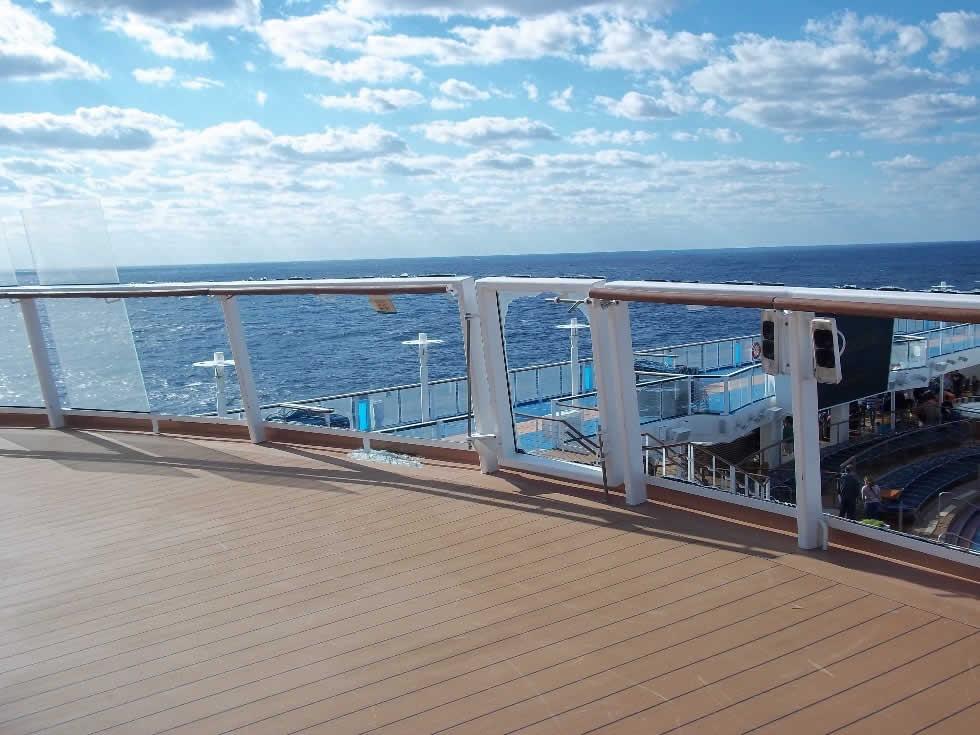 Cruise ship balcony overlooking ocean