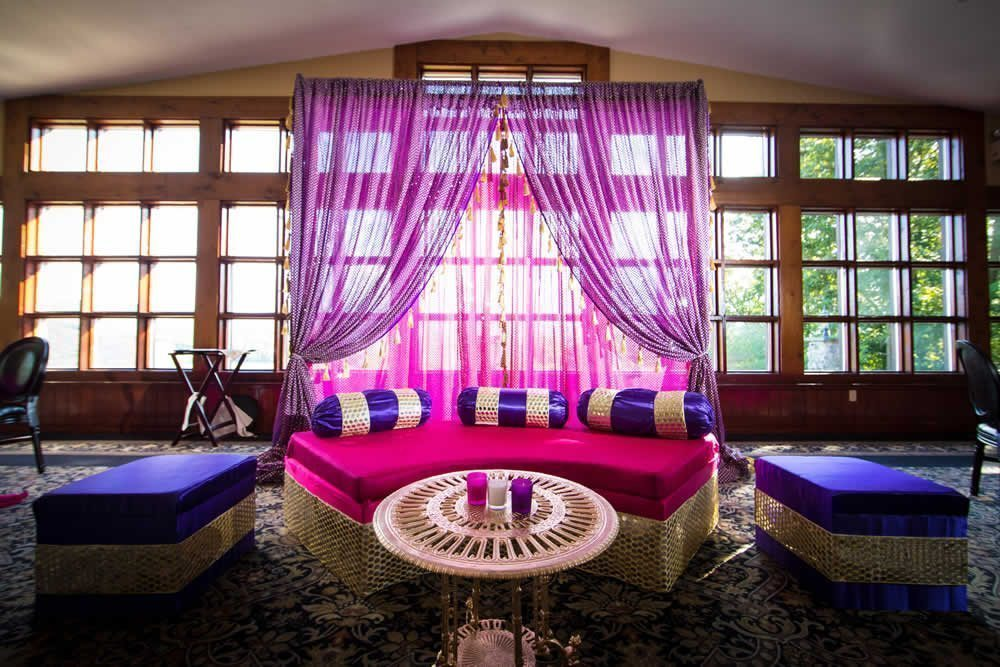 Beautiful reception area with colorful draped fabrics