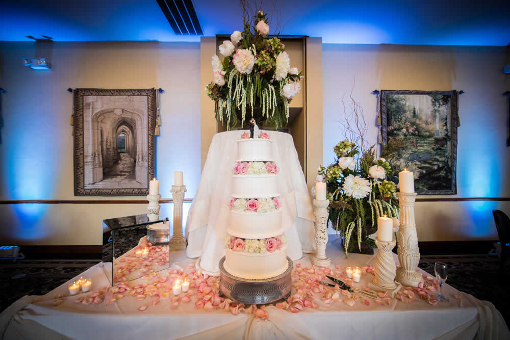 Wedding cake four levels high