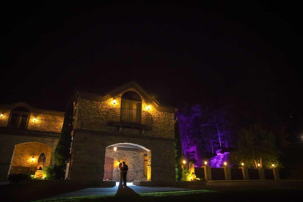 Wedding couple posing at night
