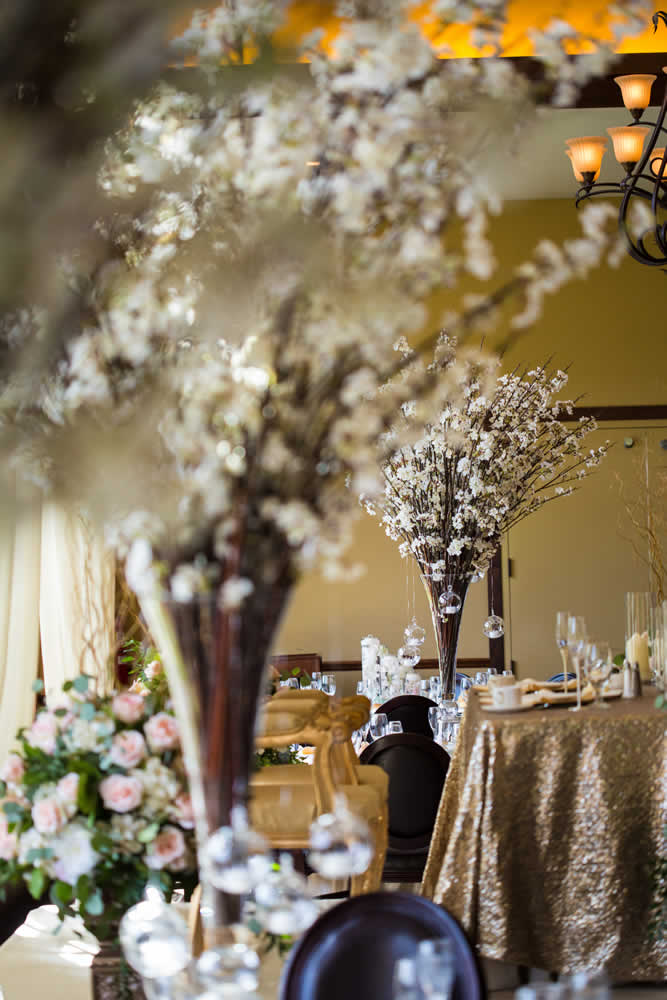 Table setting with flowers and crystal balls
