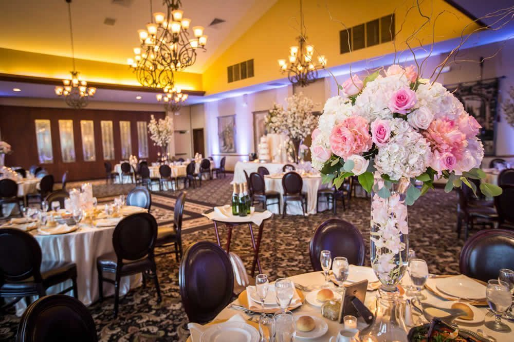 Table settings with beautiful flowers