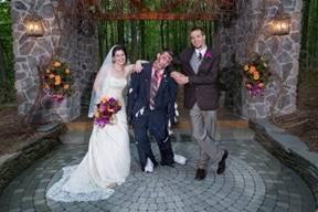 Wedding couple posing with zombie