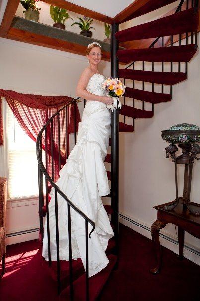 Bride posing on stairs