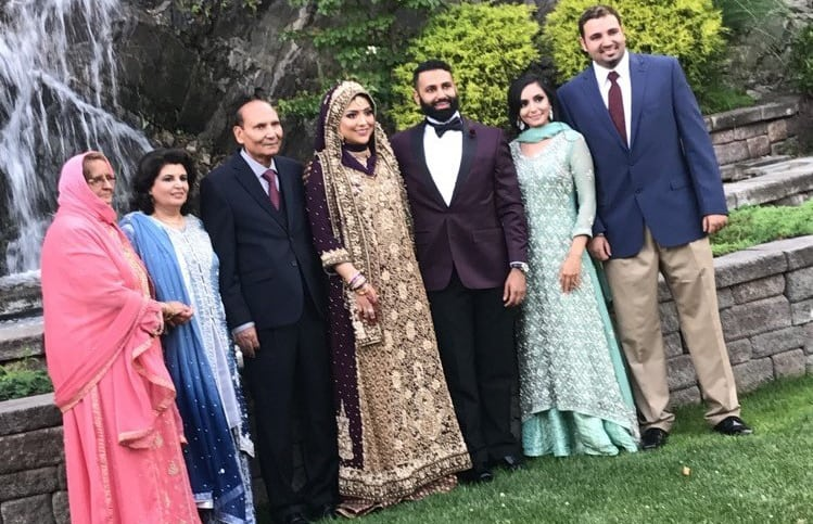 Wedding reception - couple and family
