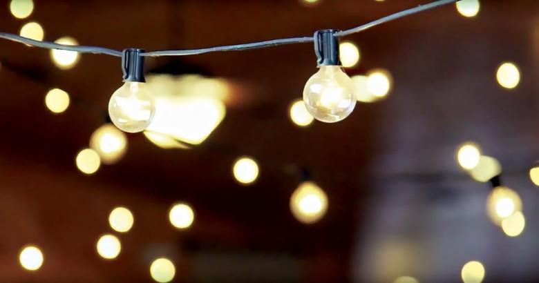 Wedding reception - hanging atmospheric lights