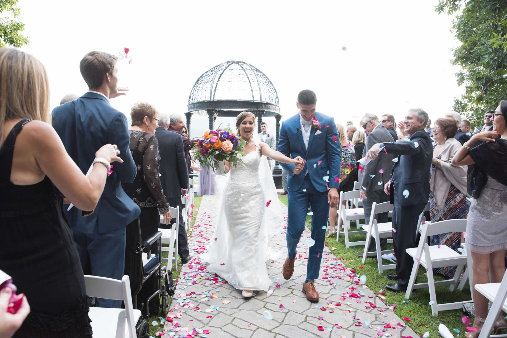 Happy wedding couple happily married at Ridgecrest venue