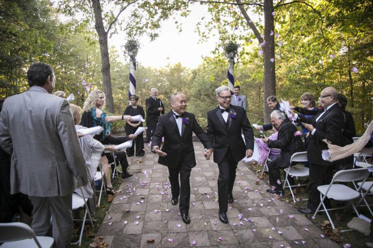 Wedding couple walking down the isle LGBTQ