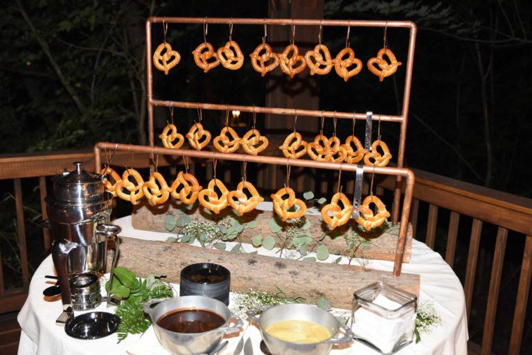 Specialty hanging soft pretzel station