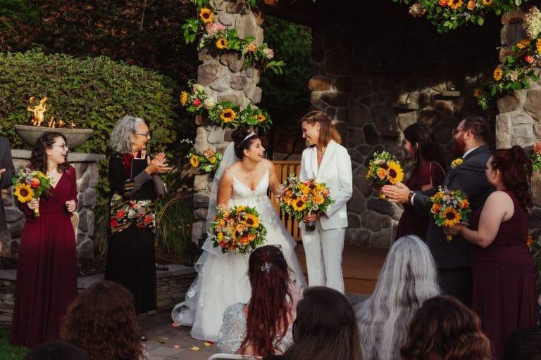 Wedding ceremony - bride and bride - happy wedding couple