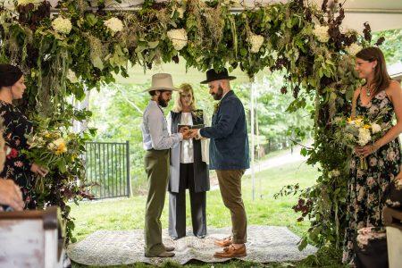 Wedding couple saying vows LGBTQ