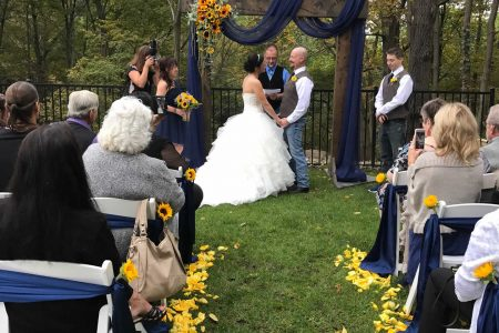 Saying their I do's pavilion wedding venue