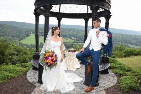Wedding couple posing at Ridgecrest venue