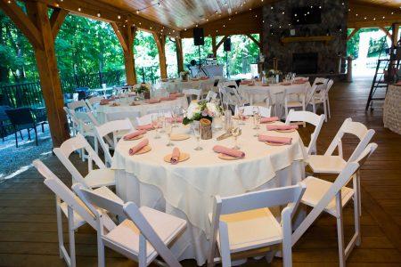 Dinning hall wedding reception floral and decor